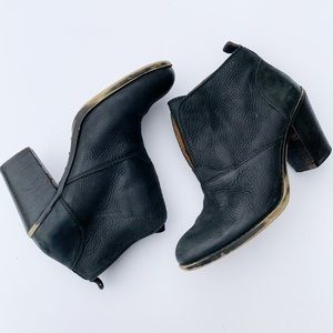 Lucky Brand Black Leather Ankle Rugged Booties